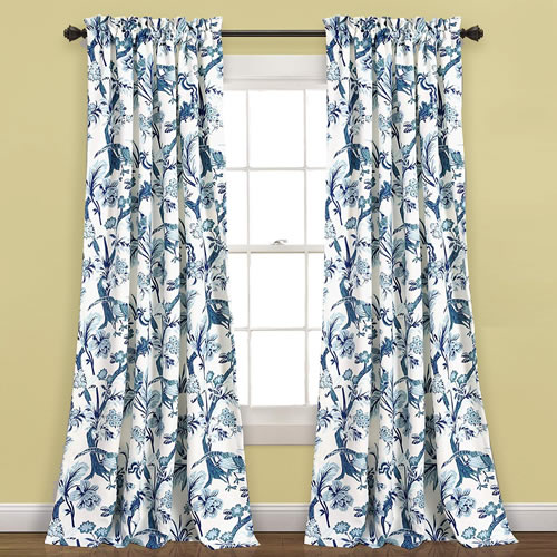 Lush Decor Jacobean Blue and White with birds curtains