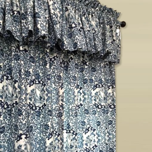 Ralph Lauren Tamarind Bird Pattern in Porcelain Blue and White Curtains