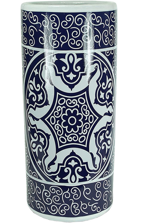 Blue and White Indian Asian Motif Ceramic Umbrella Stand