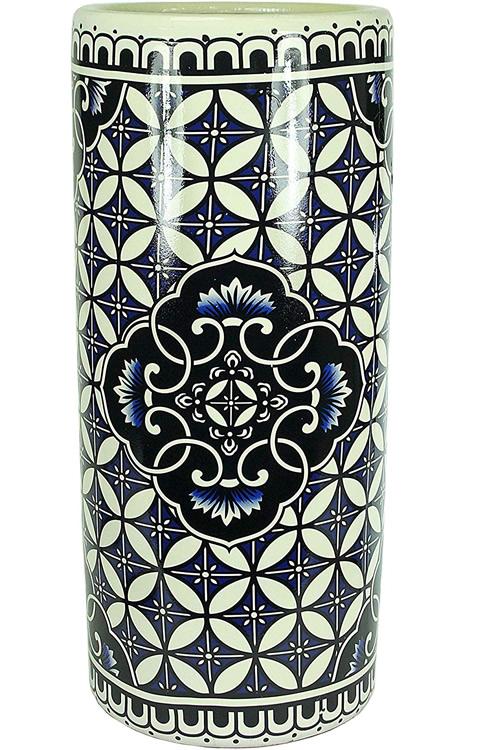 Blue and White Tiles Ceramic Umbrella Stand