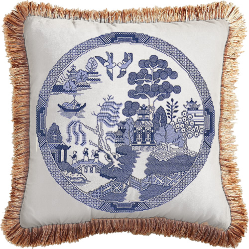 Heritage Crafts Blue Willow Pattern Cross Stitch Kit made into a pillow