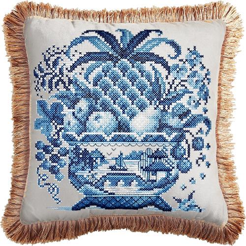 Janlynn Blue Willow Big Stitch Cross Stitch Kit turned into a pillow