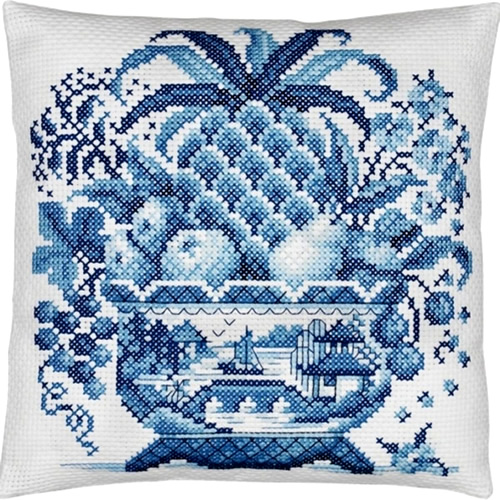 Janlynn Big Stitch Cross Stitch Kit has a still life with pineapple, apples, pears, grapes, cherries and leaves in a Blue Willow footed bowl