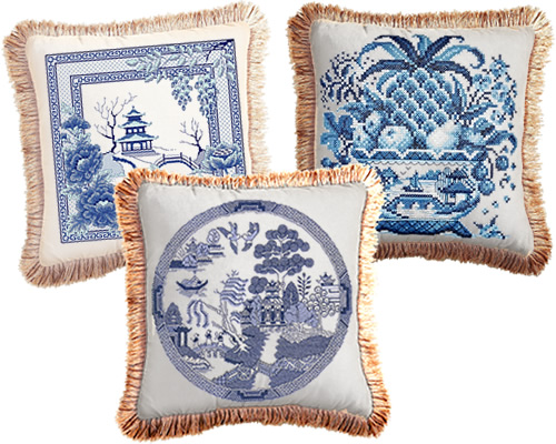 Awesocrafts Blue Willow Pagoda and Bridge Cross Stitch Kit, Janlynn Big Stitch Cross Stitch Still Life Kit and Heritage Crafts Classic Spode Blue Willow turned into pillows turned into pillows