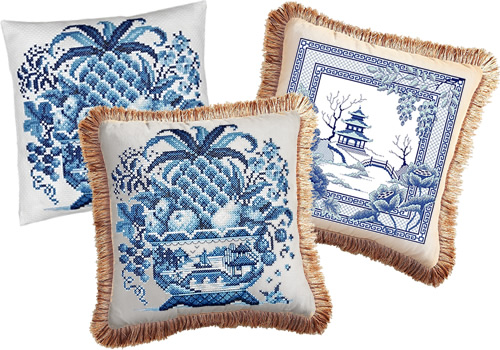 Awesocrafts Blue Willow Pagoda and Bridge Crossstitch and Janlynn Big Stitch Cross Stitch Still Life turned into pillows