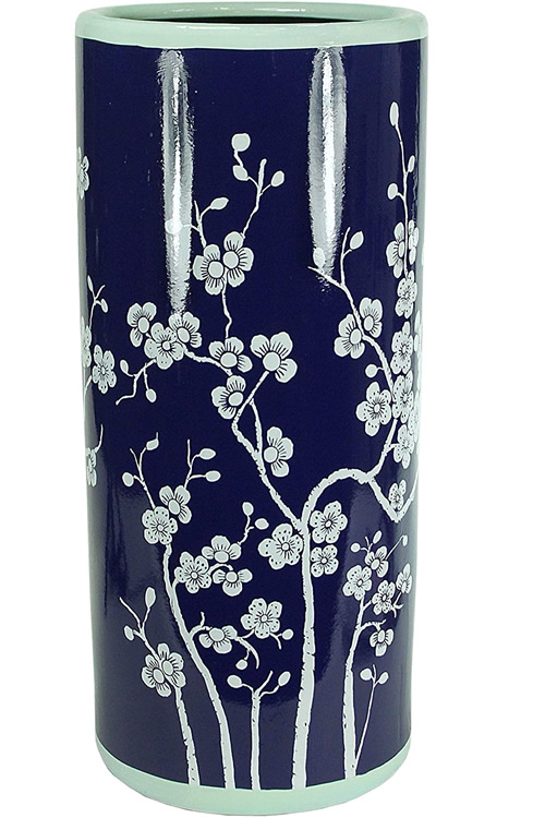 Japanese Cherry Blossom Blue and White Porcelain Umbrella Stand