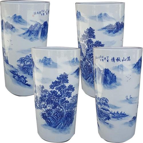 Blue & White Porcelain Landscape Umbrella Stands