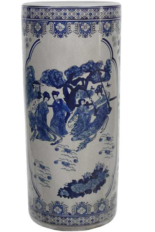 Chinoiserie Ladies in Blue and White Porcelain Umbrella Stand
