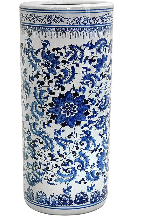 Ming Vine and Flower Design applied in cobalt blue on white Umbrella Stand with Antiqued Crackle Glaze