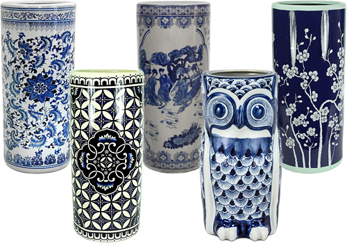 Blue and White Umbrella Stands