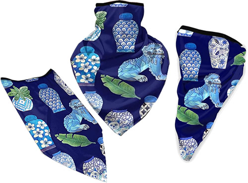 Gaiter Style Face Masks in Blue and White Chinoiserie Foo Dogs and Ginger Jars fabric