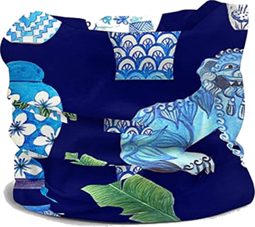 Wrap Face Mask in Blue and White Chinoiserie Foo Dogs and Ginger Jars fabric