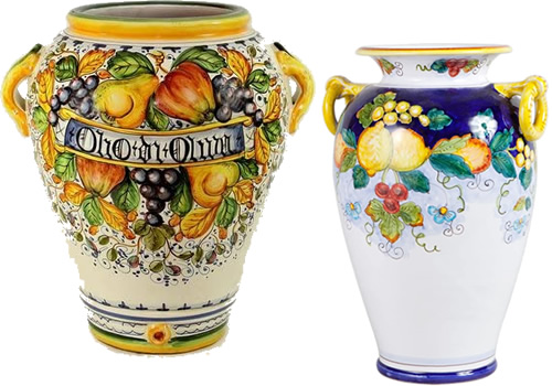 Olio di Oliva Opulent Fruit and Olives Umbrella Stand from the FRUTTA Collection and Daphne Hand Painted Lemons Italian Ceramic Umbrella Stand From Deruta