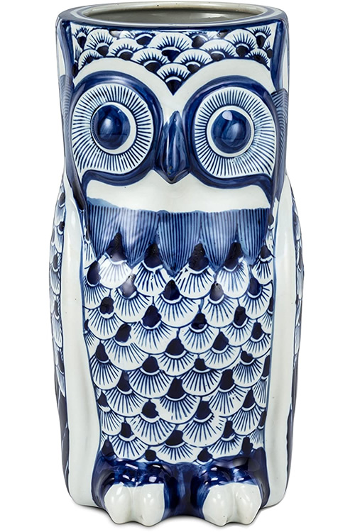 Blue and White Owl Porcelain Umbrella Stand