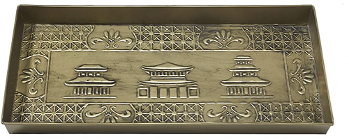 Chinoiserie Metal Boot Tray Home Furnishings by Larry Traverso Antique Brass finished Hand hammered galvanized steel