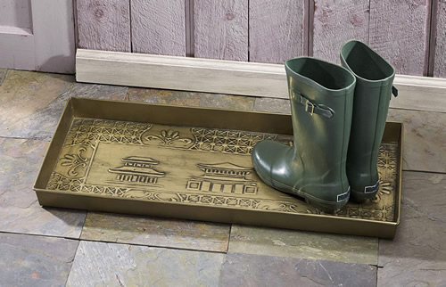 Chinoiserie Metal Boot Tray Finished to stand up to wet and dirty boots, even standing water or salt.