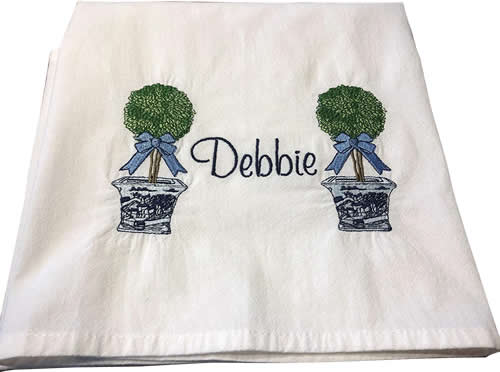Topiary Embroidered Towels by Jessiemae