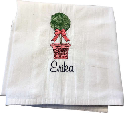 Red Willow with Topiary Embroidered Towels by Jessiemae