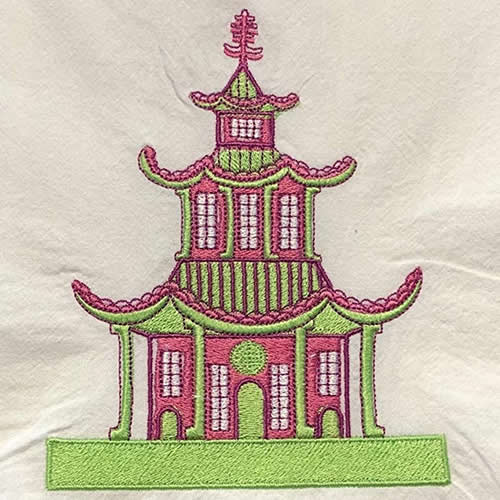 Pagoda Embroidered Towel by Jessiemaie
