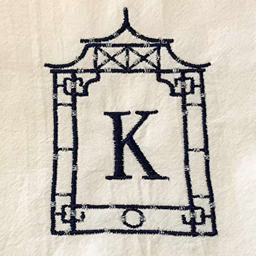 Embroidered Pagoda Frame with Monogram by Jessiemae