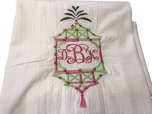 Embroidered Palm Pagoda Frame Towel with Monogram by Jessiemae
