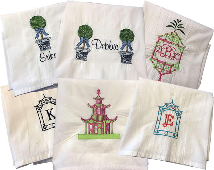 Chinoiserie Embroidered Towels by Jessiemae