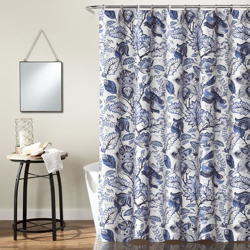 Lush Décor Cynthia Blue and White Jacobean Print Shower Curtain