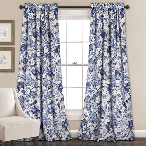 Lush Décor Cynthia Blue and White Jacobean Print window treatments come in lengths from 63 inches to 120 inches.