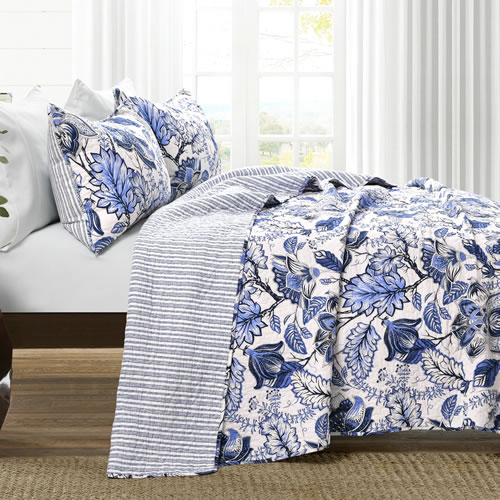 Lush Décor Cynthia Blue and White Jacobean Print bedding has coordinating stripes on the other side