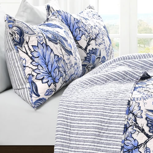 Blue and White Jacobean Print on one side, white with blue stripes in the same shades of blue on the other side