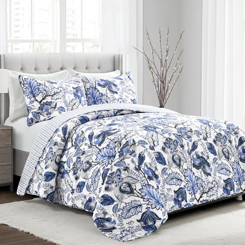 Lush Décor Cynthia Blue and White Jacobean Print Bedding