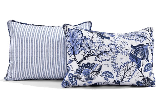 Lush Décor Cynthia Blue and White Jacobean Print Bedding includes the spread and two shams.