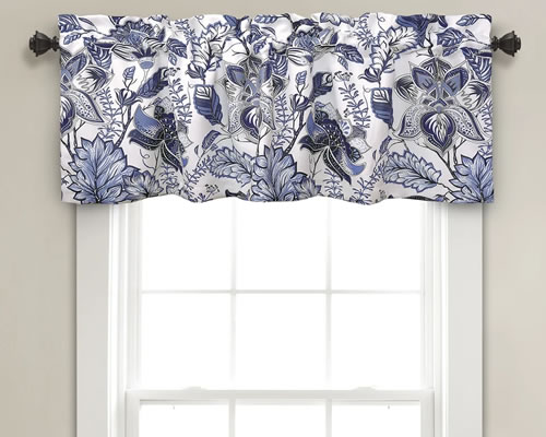 Lush Décor Cynthia Blue and White Jacobean Print Valance