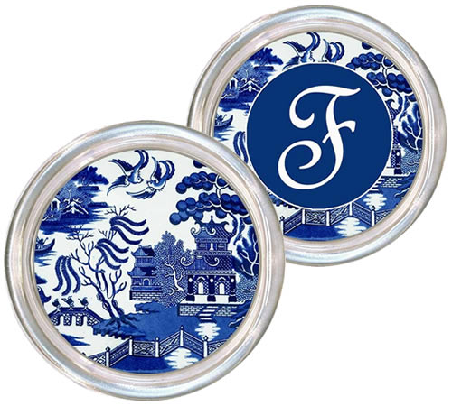 Marye-Kelley Blue Willow Coasters are available personalized