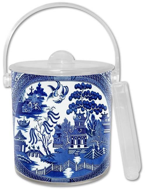 Marye-Kelley Blue Willow Lucite Ice Bucket