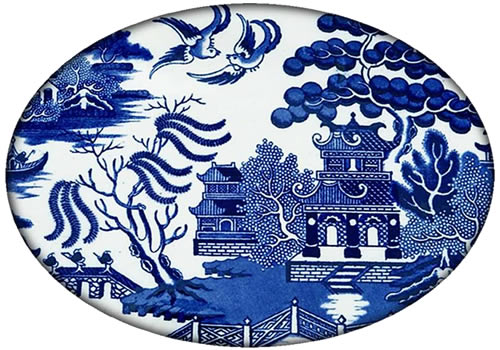 Marye-Kelley Blue Willow Flat Oval Paperweight