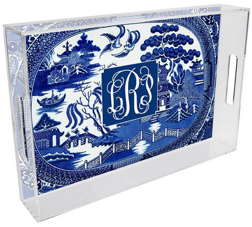 Marye-Kelley Blue Willow Lucite Tray can be personalized