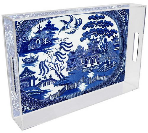 Marye-Kelley Blue Willow Lucite Tray