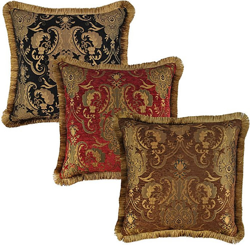 Black, Red and Brown throw pillows from Sherry Kline Home