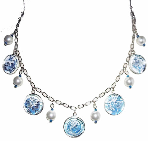 Blue Willow Charm Necklace