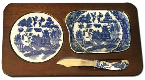 Blue Willow Cheese Server Set from eBay