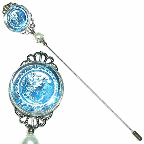 Long Victorian Blue Willow Hat Pin