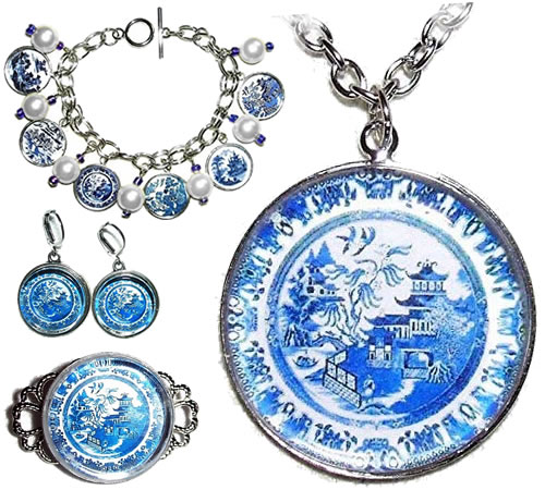 Handmade Blue Willow Jewelry by Art Jewelry For You