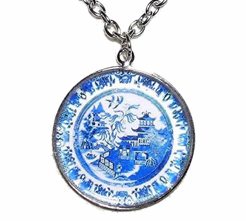Blue Willow Pendant Necklace
