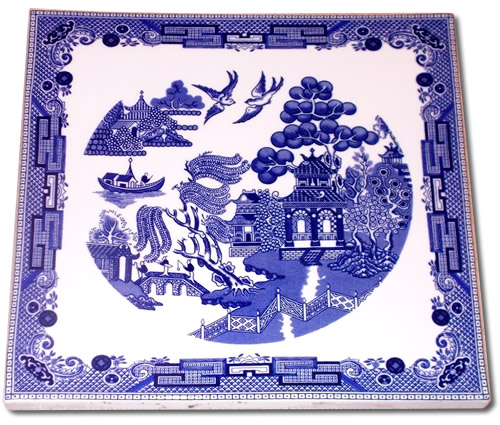 Blue Willow Ceramic Tile Hot Plate from eBay