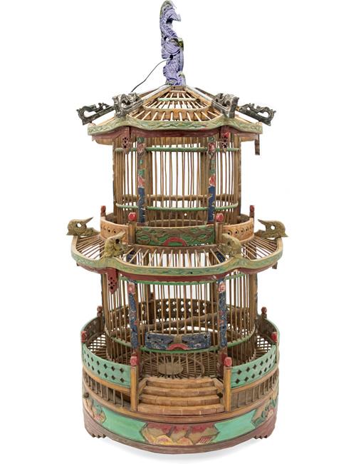 Bamboo Pagoda Birdcage from eBay