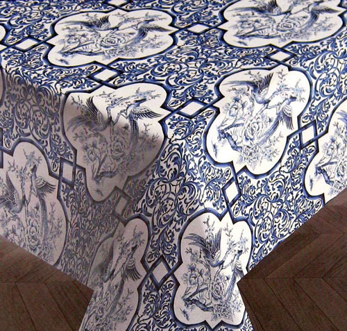 Blue and White Chinoiserie Tablecloth by Ralph Lauren