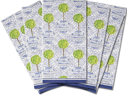 Topiary Tree in a Chinoiserie Pot Guest Towels from Boston International Rosanne Beck Collections