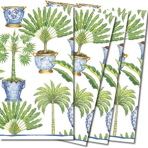 Caspari Tropical Palms in Chinoiserie Planters Guest Towels