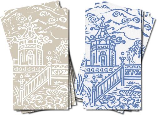 Caspari Pagoda Toile Guest Towels in Natural or Blue